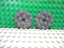 Lego 2 Dark Bluish Gray 4x4 round plate base NEW