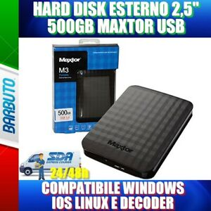 "HARD DISK ESTERNO 2,5"" 500GB MAXTOR USB COMPATIBILE WINDOWS IOS LINUX E DECODER"