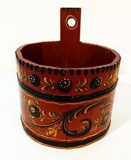 "Vintage Dutch 7.5"" Rosemaling Painted Bucket / Barrel Oosterbeek Netherlands"