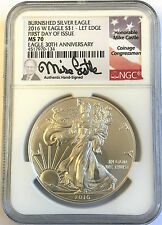 2016-W Burnished Silver Eagle NGC MS70 First Day Issue Mike Castle ONLY 150 Pop