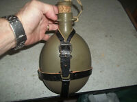 Vintage Metal Canteen with Leather Harness European Military?? Nice L@@k
