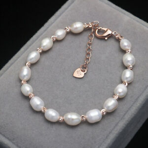 Beautiful Genuine Natural Freshwater White Pearl Rose Gold Bracelet B