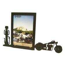 Motorcycle and gas pump 3x5V Black Metal Picture Frame