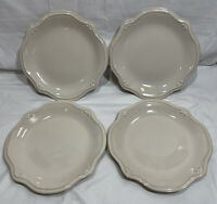 (Set Of 4) Anchor Hocking Isabella Cream Colored Ceramic Dinner Plate(s) 11""