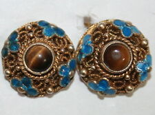 ANTIQUE DECO 13mm SILVER GOLD PL TIGER EYE FILIGREE ENAMEL CHINESE STUD EARRING