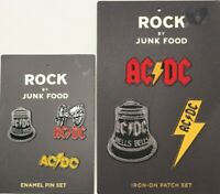 AC/DC Rock by JUNK FOOD AC DC ENAMEL PIN IRON ON PATCH SET THREE PINS 3 PATCHES