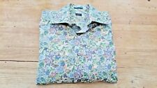 Paul Smith Thin Cotton Summer Shirt Size 16 Green Floral Design Double Cuff