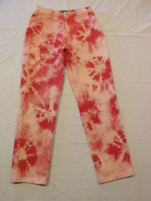 Ladies Up-cycled Starburst Cambio Red hand bleach-dyed Jeans size 10