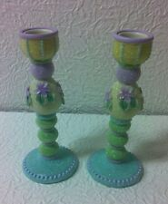 Karen Hahn Violet Taper Candleholders Set Of 2 by Enesco #108018 Nib