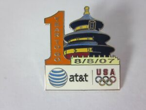 Rare 2008 Beijing AT&T 1 Year To Go USA Olympic Team Sponsor Pin 08-08-07