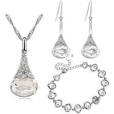 White Bridal Jewellery Set Drop Earrings Bracelet and Necklace Pendant S884