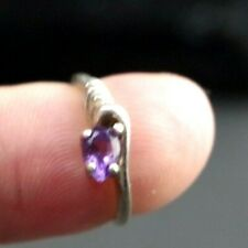 VTG Sterling Silver 925 Amethyst Ring Small Sz 4.5 Faceted Purple Gem Stone