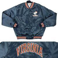 Vintage 80's 90's UVA Virginia Cavaliers Satin Bomber Jacket Size XL Made In USA