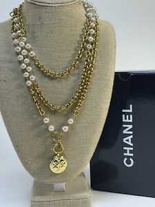 """Vintage Chanel ❤️🌹Feaux Pearl 18k Gold Plated Necklace France Circa 90""""s  64in"""