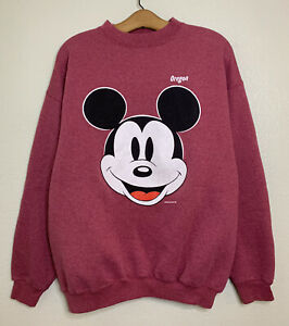 Vintage Mickey Mouse Sweatshirt 90s Size Large Heather Red Tultex