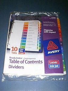 AVERY 11188 TABLE OF CONTENTS 10 Color Tabs Index Dividers - 6 Sets - BRAND NEW!