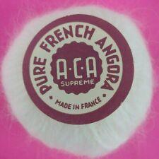 100% Angora Yarn Aca Lot of 8+ Balls White 85g Rabbit Hair Made in France Vtg