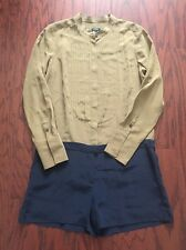J Crew  Beige Blue Silk Long Sleeve Pleated Front Button Down Romper Size 6
