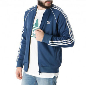 Adidas Superstar SST Bomber Men Track Jacket Athletic Lightweight Blue Jacket
