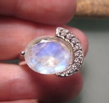 925 sterling silver cut rainbow moonstone/CZ ring UK O-O¼/US 7.25-7.5. Gift bag