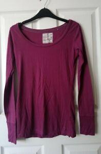 Fat Face Tunic Top Long-Sleeve T-shirt Size 8 Purple-Pink 'amaranth'