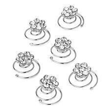 Bridal Wedding Silver Flower Clear Crystal Hair Coils Spirals Twists Pins