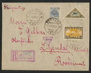 ESTONIA TO SWEDEN -RAKVERE AIR MAIL COVER 1920 RARITY