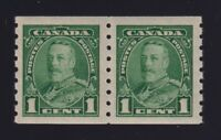 Canada Sc #228 (1935) 1c green King George V Pictorial Coil Pair Mint VF NH MNH