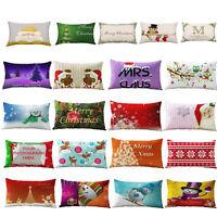 Christmas Pillow Case Cotton Linen Throw Waist Cushion Cover Car Sofa Home Decor