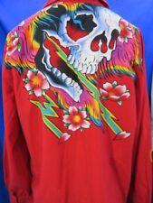 """Para Hombre Ed Hardy """"Calavera Y Llamas"""" Rojo camisa de mangas largas XL"""