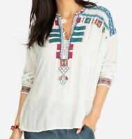 NWT JOHNNY WAS EUGENIA VELVET EMBROIDERED BLOUSE TUNIC TOP SZS 1X 2X  NATURAL