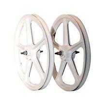 """BMX WHITE Skyway Tuff II Wheel 2 Mag WHEELSET WHITE 20"""" Freewheel WHEEL SET"""