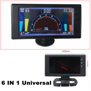 Autos LCD Digital 6'' R.P.M & Hour Meter LED Oil Pressure VOLT Water Temp Gauge