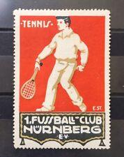 German Vintage Poster Stamp on Sports Tennis Racket