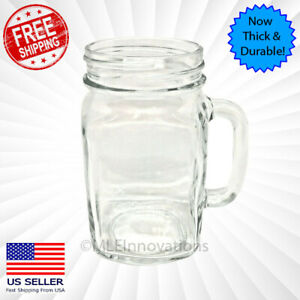 Mason Jar Mug Clear Handle Cup Drinking Vintage NEW 16 OZ Mugs Cups Glasses Jars