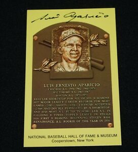 Luis Aparicio Chicago White Sox Signed Yellow HOF Plaque Postcard-NM