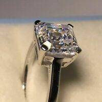 2.00Ct Asscher Cut Moissanite Diamond Ring Engagement Ring 14K White Gold Over