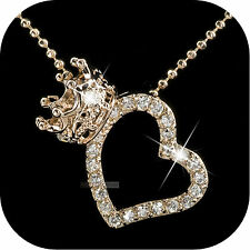 18K ROSE GOLD GP MADE WITH SWAROVSKI CRYSTAL LOVE HEART CROWN PENDANT NECKLACE