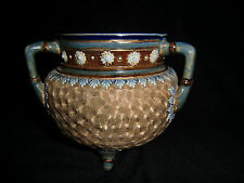 Royal Doulton stoneware  three handled  gilt cauldron - dated 1904  - in VGC