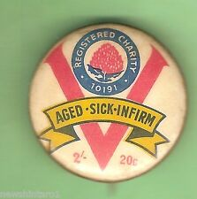 #C. TIN BADGE - AGED, SICK,INFIRM, 25mm, 2/- or 20 cents