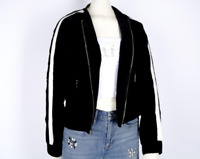 JUICY COUTURE BLACK LABEL WOMEN'S STRIPE SLEEVE BOMBER JACKET