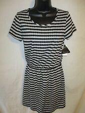 City Triangles Polyester Size M Gray/Black Striped Knit Sheath Dress SR $25 NEW