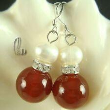 AU Seller Genuine pearls&Natural Carnelian earrings 030619