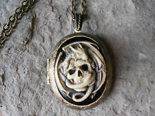 SKULL AND DRAGON HAND PAINTED CAMEO BRONZE LOCKET - DRAGON COLLECTOR, GOTH