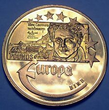 EUROPE IRELAND 20 POUNDS 2003 UNC Proof Medal 40mm 22g Gold Plated Copper.
