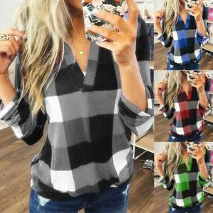 Women Casual Long Sleeve Basic Tee Blouse Plaid Check T Shirt Ladies V Neck Top