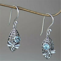 Women 925 Silver Sterling Ear Dragonfly Hoop Drop Earrings Blue Crystal Jewelry