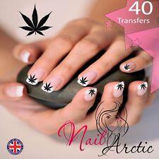 Las transferencias de agua Nail Wraps cannabis Hoja Calcomanía Pegatinas De Arte X 40