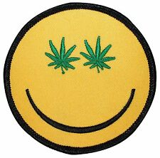 Stoner Smiley Pot Leaf Face Marijuana Weed Embroidered Iron On Applique Patch