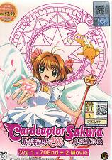 DVD Cardcaptor Sakura 1-70 End (Complete TV Series +  2 Movies) + Free anime